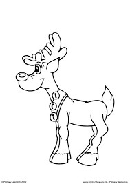 primaryleap uk colouring picture standing reindeer worksheet