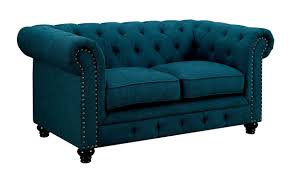 Teal Tufted Sofa by Cm6269 Traditional Style Sofa Ladiscountfurniture Com