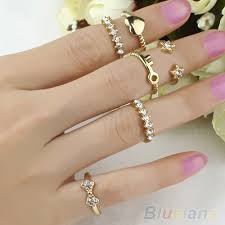 rings set images 6pcs set bowknot heart star dazzling rhinestone above knuckle jpg