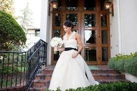 black sash vera wang wedding dress illusion neckline black sash