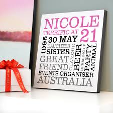 personalised 21st birthday typographic art by a type of design