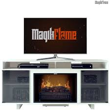 penelope iii lite white media center electric fireplace wall