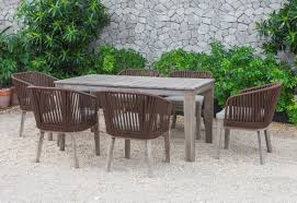 Dinner Table Chairs by Fiji Outdoor Brown Dining Table Set