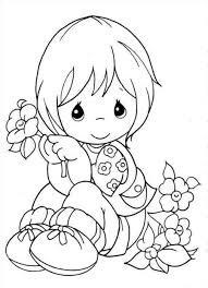 little holding a flower coloring pages pinterest