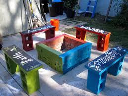 backyard ideas concrete block benches amazing design on building