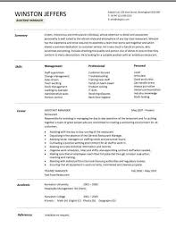 Sample Restaurant Resume by Retail Assistant Manager Resume Thebridgesummit Co
