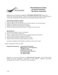 Dancer Resume Template Aerobics Instructor Cover Letter Internal Consultant Cover Letter
