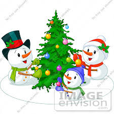 clip illustration of a snowman family decorating their
