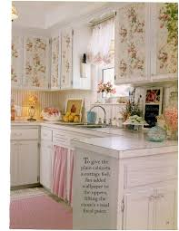 Shabby Chic Kitchen Furniture by Floral Wallpaper With Roses On Cupboards Attractive Displays On