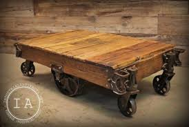 Coffee Table With Wheels Pottery Barn - coffee tables railroad cart wheels industrial cart coffee table