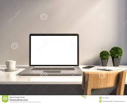 Desk Laptop Office Desk Laptop And Coffee Stock Illustration Illustration