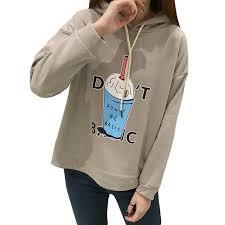 drink cup print women hoodies cartoon design dont be basic letter