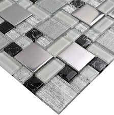 stainless steel mosaic tile backsplash glass mosaic kitchen wall tiles mosaic ssmt115 black and white