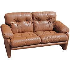 Modern Loveseat Sofa Pair Of Brown Leather Tobia Scarpa For B U0026b Italia Coronado Modern