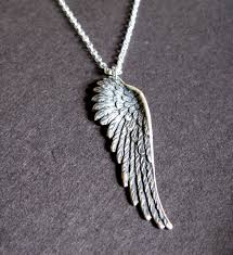 necklace wing images Pure heart silver oxidized angel wing necklace mens jpg
