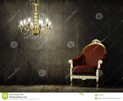 interior grunge room with classic armchair stock photo image
