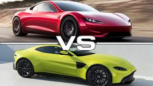 tesla roadster 2019 2020 tesla roadster vs 2019 aston martin vantage youtube