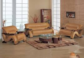 Brown Sofa Set Designs Grandiose Curvy Wood And Leather Sofa Set With 4 Colors Option