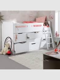chambre combiné fille combiné lit enfant avec rangements ligne passe passe blanc