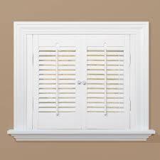 HomeBASICS Traditional Real Wood Snow Interior Shutter Price - Home depot window shutters interior