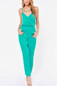stylish jumpsuits teal v neck high waist stylish jumpsuit rompers and