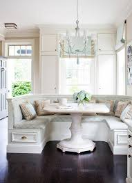 breakfast nook ideas black wooden floor with pedestal table and u shaped bench seating