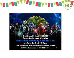 alluring free avengers birthday invitation templates hd images for
