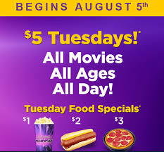 thrifty tuesday deals 5 megaplex tickets and free popcorn and
