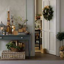 natural foliage christmas hallway white hallway console tables