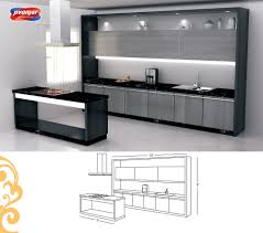 single line large kitchen design with a serving table jacpl