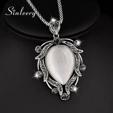 long drop pendant necklace images Sinleery vintage big opal drop pendant necklace antique silver jpg