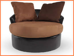 Round Armchair Brown Swivel Armchair For Living Room Mixed Floating White Console