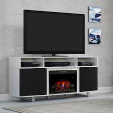 black and white fireplace entertainment centre and triple shelf