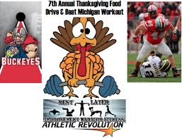 7th annual thanksgiving food drive beat michigan workout