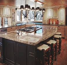 Kitchen Island With Granite Countertop Curved Pull Down Steel Sink Faucet Small Island Stove Hook Printed