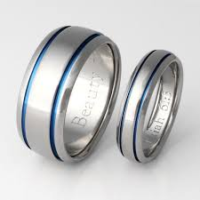 blue titanium wedding band matching blue titanium ring set stb10 titanium rings studio