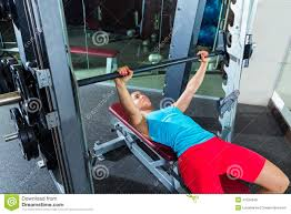 bench press flat multipower smith machine stock photo image