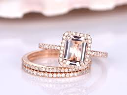 engagement bands rings images Morganite ring set wedding ring set 6x8 emerald cut morganite jpg