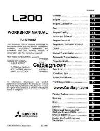 mitsubishi l200 1996 workshop service repair manual pdf pdf free