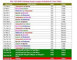 2016 ipl match list psl t20 2016 pakistan super league schedule time table youtube