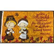 3x5 give thanks thanksgiving prayer psalm 118 1 flag pilgrims