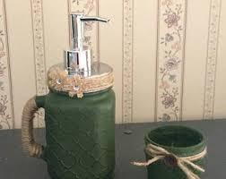 Rustic Bathroom Accessories Sets by Green Bathroom Decor Etsy