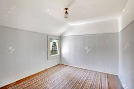 Rug Trim White Empty Room Interior With Vaulted Ceiling Siding Wall Trim