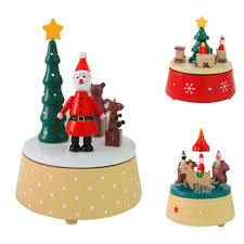 Desktop Decorations Rotary Wooden Music Box Christmas Handmade Craft Gifts Xmas