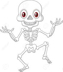 vector illustration of halloween skeleton jumping with dance