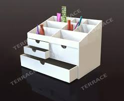 Lucite Desk Accessories White Acrylic Cosmetics Makeup Jewelry Holder Drawer Box