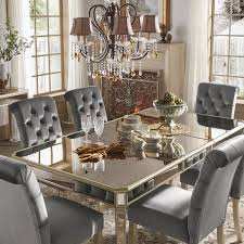 clara silver velvet and antique gold mirrored dining set by