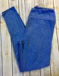lularoe leggings t u0026c tall and curvy blue heathered solid llr ebay