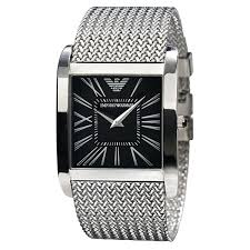 armani watches bracelet images Armani ar2012 mens black dial silver bracelet classic watch jpg