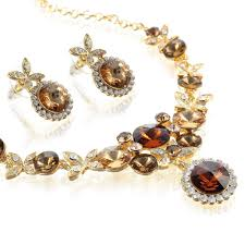 rose gold colour necklace images Dancing butterflies necklace earrings set in 100 swarovski jpg